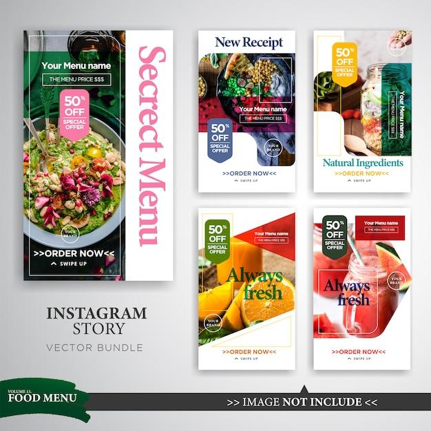 Modello di promozione di storie di instagram gastronomiche e culinarie Vettore Premium