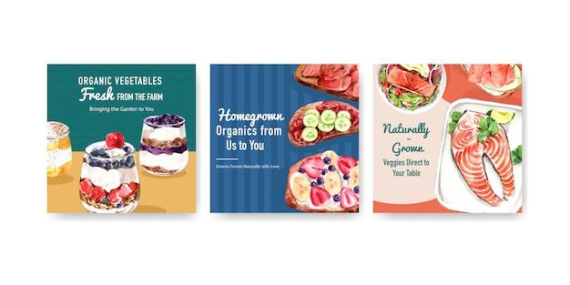Modello di pubblicità con design di alimenti sani e biologici Vettore gratuito