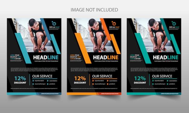 Modello di pubblicità copertina volantino brochure fitness Vettore Premium