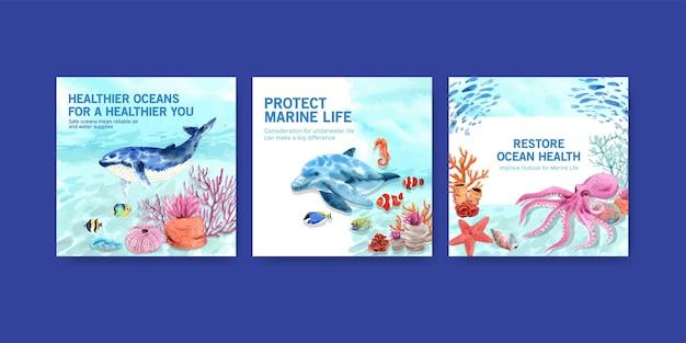 Modello di pubblicità di concetto di protezione dell'ambiente di giornata mondiale degli oceani con la balena e il polipo. Vettore gratuito