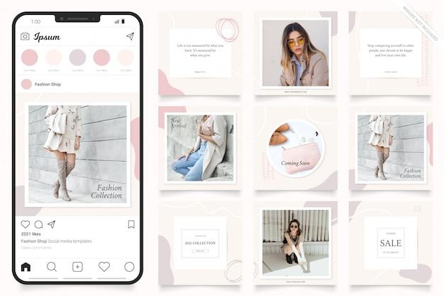 Modello di pubblicità sui social media per storie di instagram e banner di facebook Vettore Premium