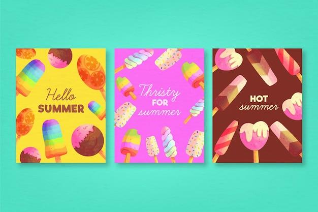 Modello di raccolta carta estate dell'acquerello Vettore gratuito