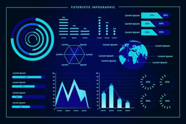 Modello di raccolta di infografica futuristico Vettore gratuito