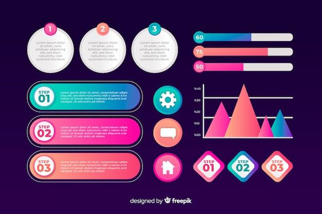 Modello di raccolta elemento di marketing infografica Vettore gratuito