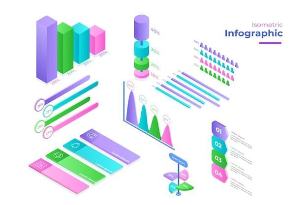 Modello di raccolta infografica isometrica Vettore gratuito