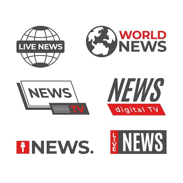 Modello di raccolta logo notizie Vettore gratuito