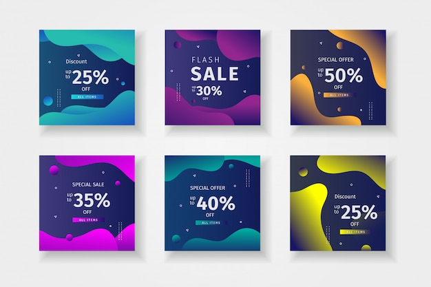 Modello di raccolta post di instagram per le vendite Vettore Premium