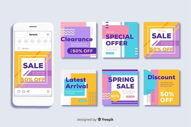 Modello di raccolta post di instagram per le vendite Vettore gratuito