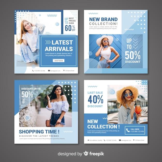 Modello di raccolta posta instagram con foto Vettore gratuito