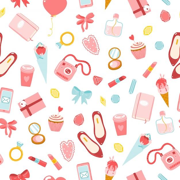 Modello di ragazze senza soluzione di continuità. illustrazioni del fumetto di vari articoli di cosmetici, vestiti, gioielli, dolci e fiori. toni rosso-rosa su sfondo bianco Vettore Premium