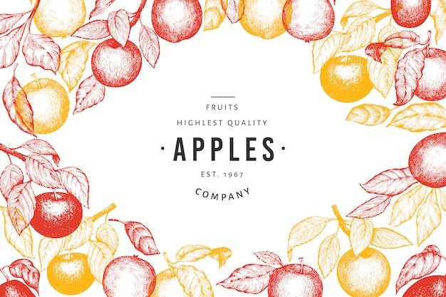 Modello di rami di mela. illustrazione disegnata a mano della frutta del giardino. Vettore Premium