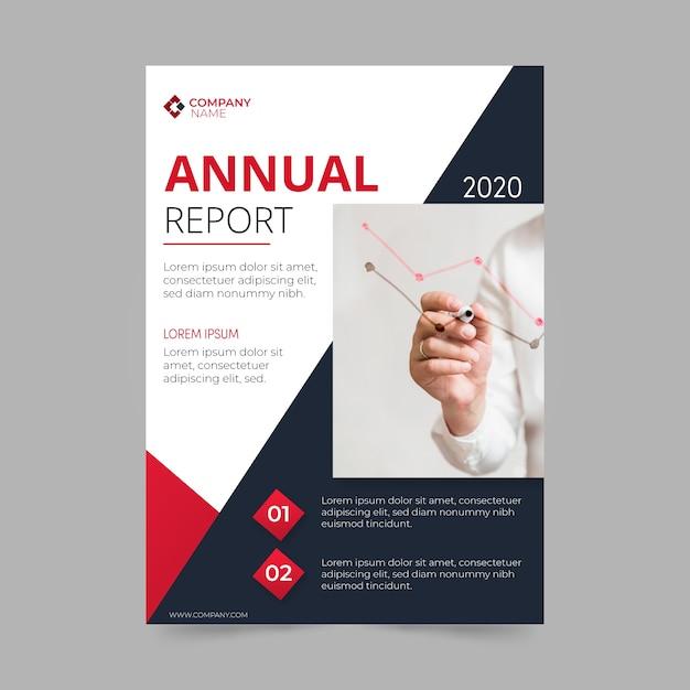 Modello di relazione annuale con tema fotografico Vettore gratuito
