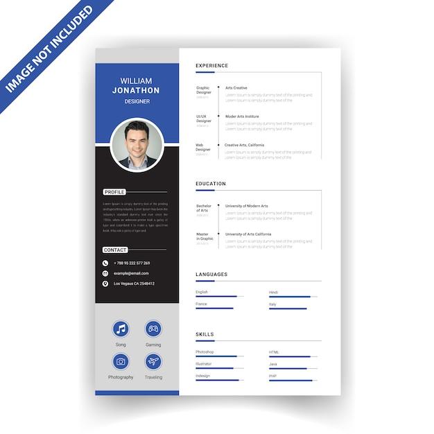 Modello di resume creativo Vettore Premium