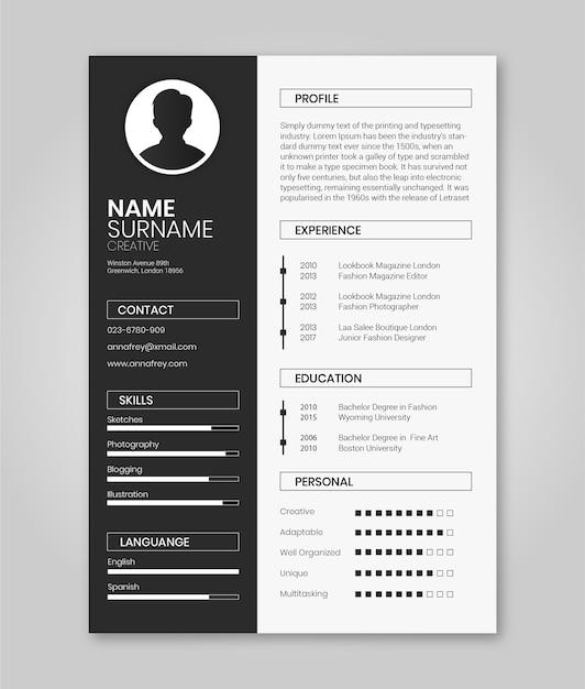 Modello di resume in bianco e nero minimalista Vettore Premium