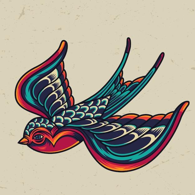 Modello di rondine volante colorato Vettore gratuito