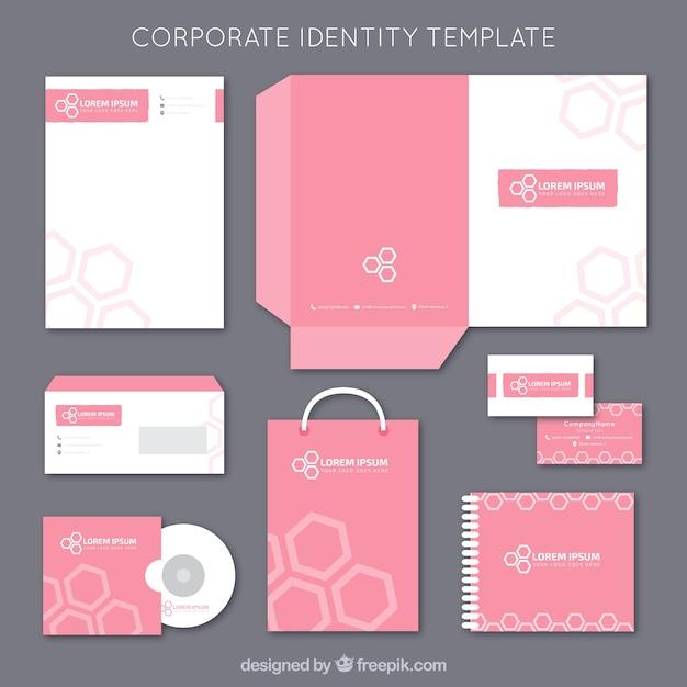 Modello di rosa corporate identity Vettore gratuito