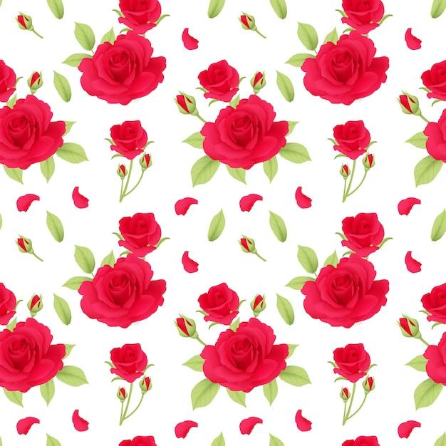 Modello di rose rosse senza soluzione di continuità Vettore Premium