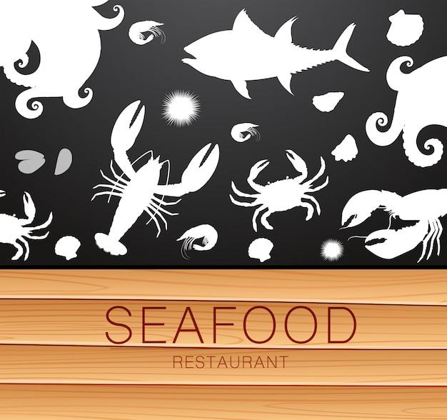 Modello di sagoma di pesce fresco Vettore Premium