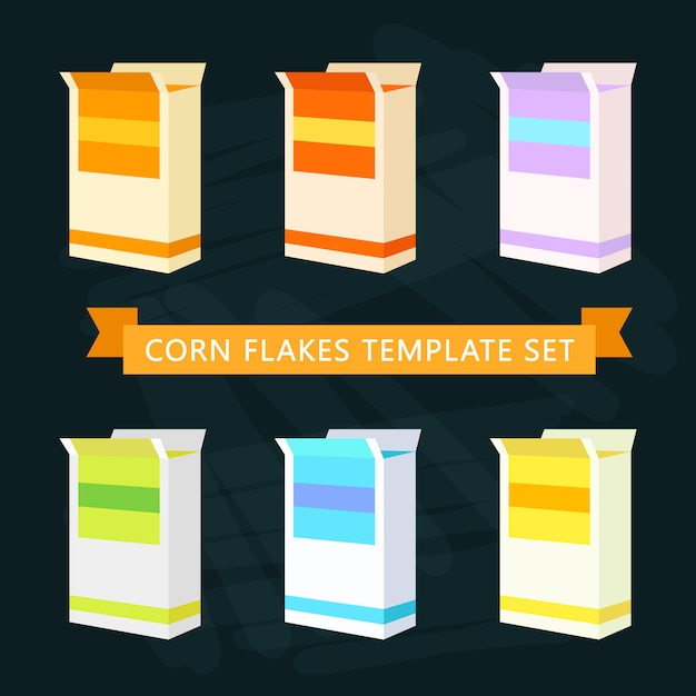 Modello di scatole di corn flakes Vettore gratuito