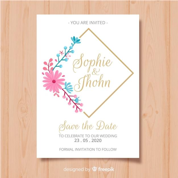 Modello di scheda dell'invito cornice floreale Vettore gratuito