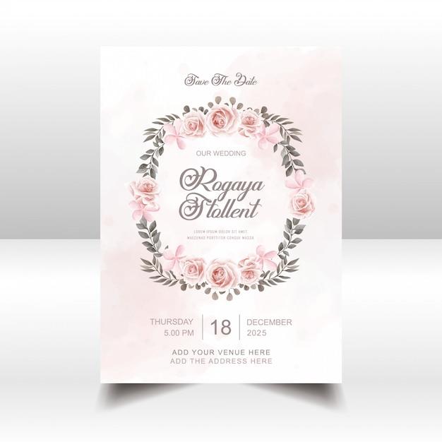 Modello di scheda dell'invito di cerimonia nuziale dei fiori dell'acquerello dell'annata Vettore Premium
