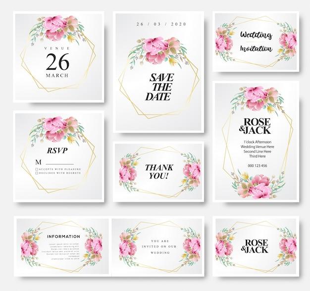 Modello di scheda dell'invito di nozze Vettore Premium