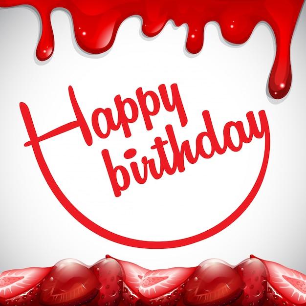 Modello di scheda di compleanno con la marmellata di fragole Vettore gratuito