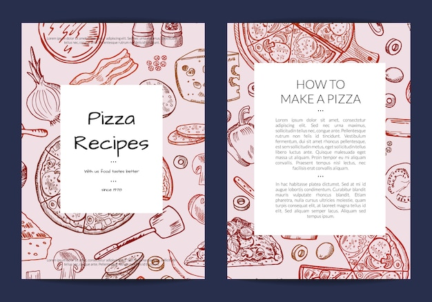 Modello di scheda o brochure per ristorante pizzeria o lezioni di cucina Vettore Premium