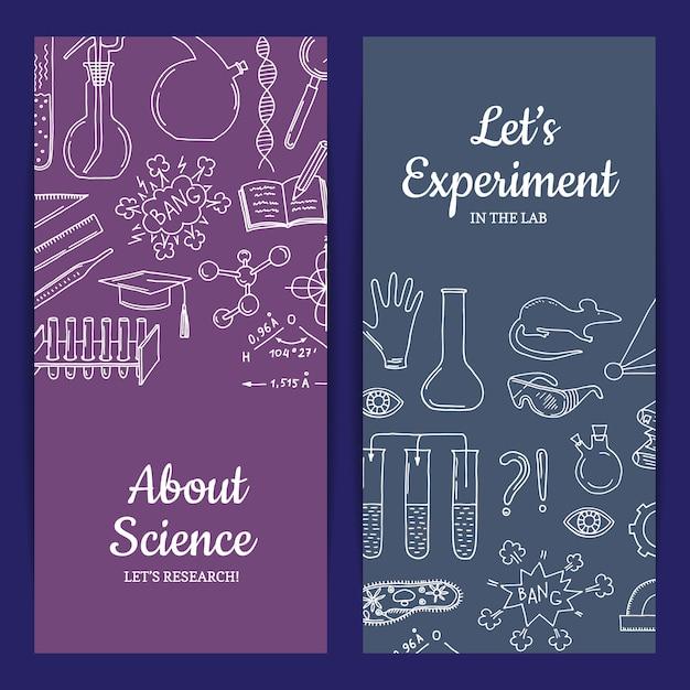 Modello di scheda o volantino con elementi di scienza o chimica abbozzati Vettore Premium
