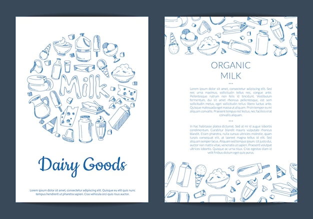 Modello di scheda o volantino con posto per testo e disegnato a mano elementi lattiero-caseari su bianco Vettore Premium