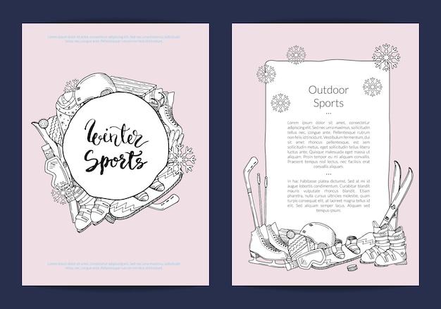 Modello di scheda o volantino per negozio di articoli sportivi o modello di resort invernale Vettore Premium