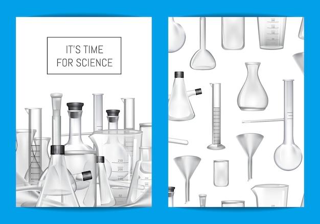 Modello di scheda, volantino o brochure per laboratorio chimico o lezioni di chemitry con tubi di vetro e posto per il testo Vettore Premium