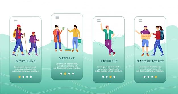 Modello di schermata dell'app mobile per il turismo a budget. Vettore Premium
