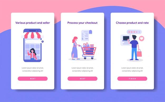 Modello di schermo onboarding del concetto di shopping online Vettore Premium