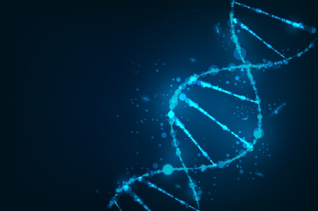 Modello di scienza, carta da parati o banner con molecole di dna Vettore Premium