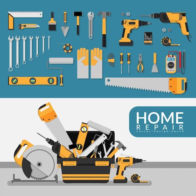 Modello di servizio di riparazione a domicilio con set di strumenti di riparazione. Vettore Premium