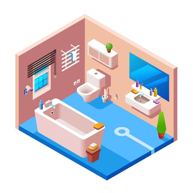 Modello di sezione trasversale del fondo interno del bagno. 3d casa moderna, appartamento hotel Vettore gratuito