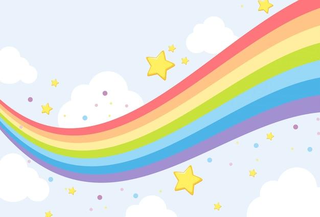 Modello di sfondo arcobaleno cielo Vettore Premium