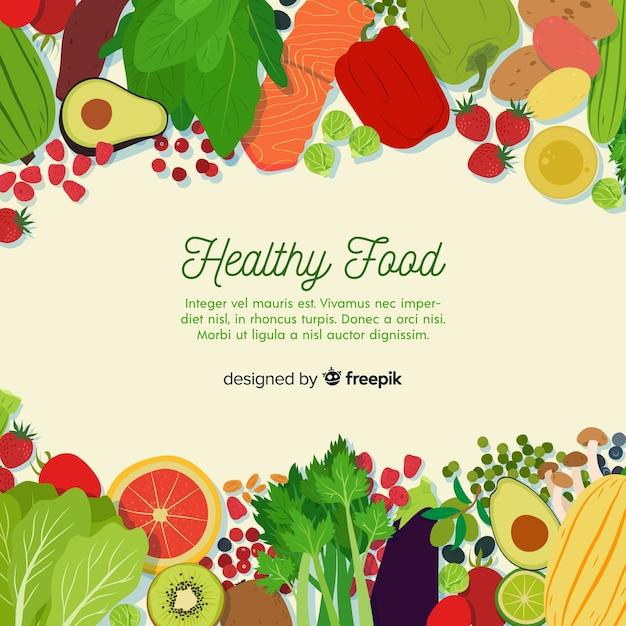 Modello di sfondo colorato cibo sano Vettore gratuito