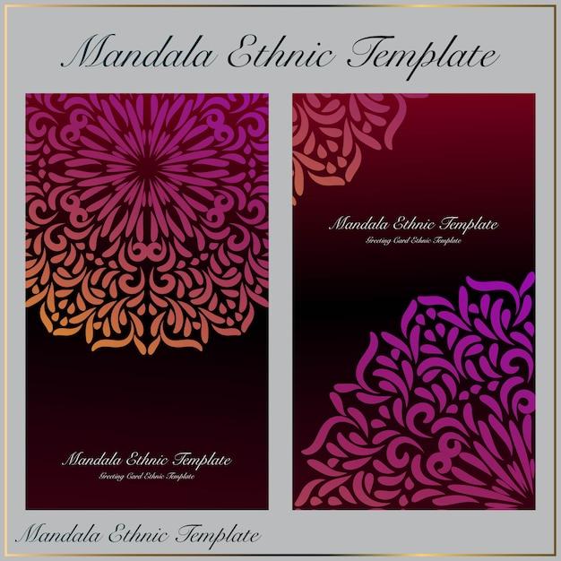 Modello di sfondo con ornamento bella mandala sfumatura Vettore Premium