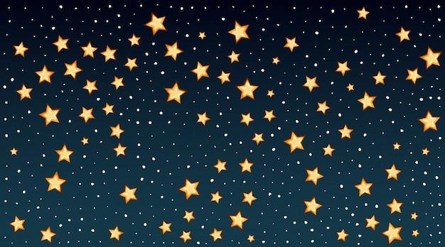 Modello di sfondo con stelle luminose nel cielo scuro Vettore gratuito
