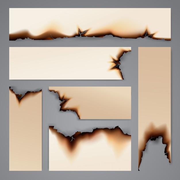 Modello di sfondo di carta bruciata banner Vettore Premium