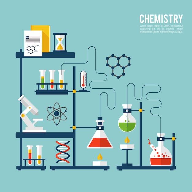 Modello di sfondo di chimica Vettore gratuito