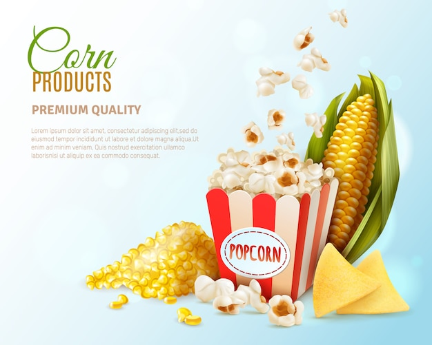 Modello di sfondo di prodotti di mais Vettore gratuito