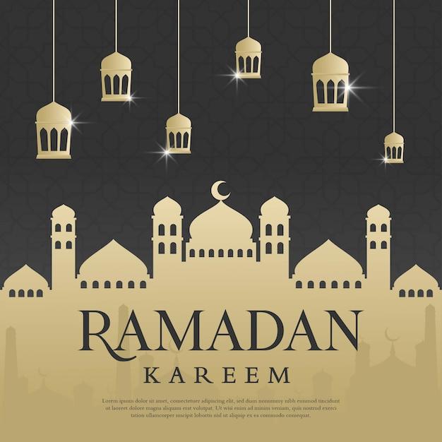 Modello di sfondo di ramadan kareem Vettore Premium
