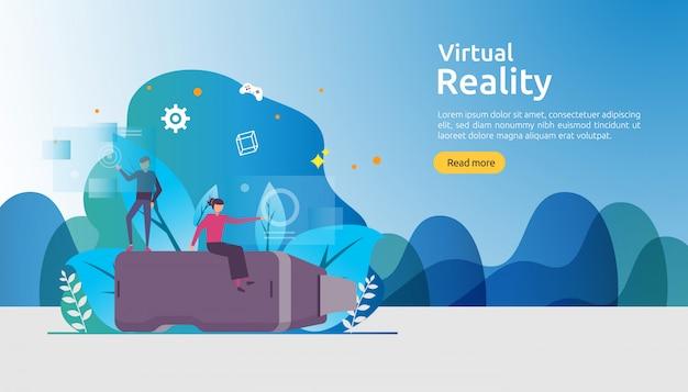 Modello di sfondo di realtà aumentata virtuale Vettore Premium
