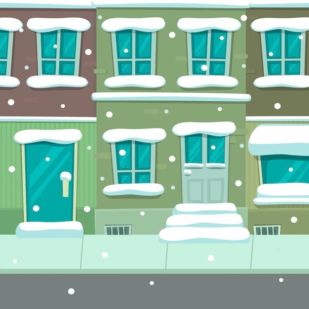 Modello di sfondo di scena di cartone animato città natale inverno Vettore Premium