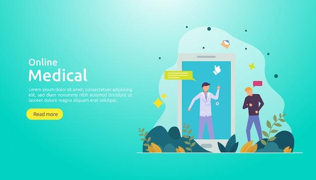 Modello di sfondo di supporto medico online Vettore Premium