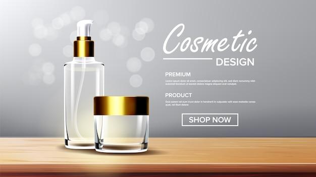 Modello di sfondo di vetro cosmetico Vettore Premium
