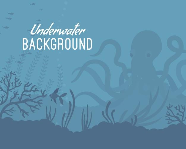 Modello di sfondo subacqueo con kraken Vettore Premium